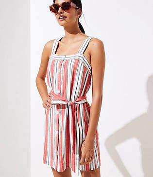 LOFT Beach Striped Tie Waist Dress