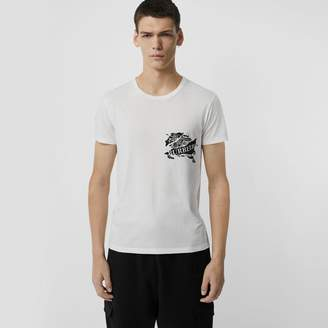 Burberry Collage Logo Print Cotton T-shirt, White