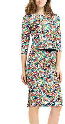 Yacun Women's 2 Pieces Half Sleeve Floral Print Sheath Pencil Dress L