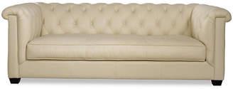 """One Kings Lane Alexa 93"""" Tufted Leather Sofa - Almond"""