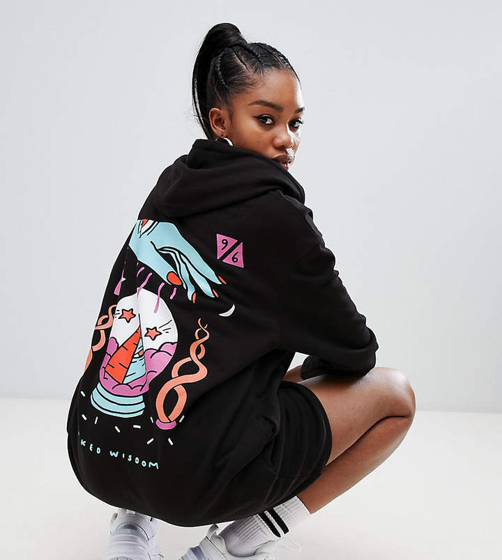 Crooked Tongues oversized hoodie dress in black with wisdom back print