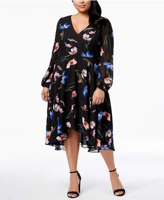 Betsey Johnson Plus Size V-Neck Floral Midi Dress