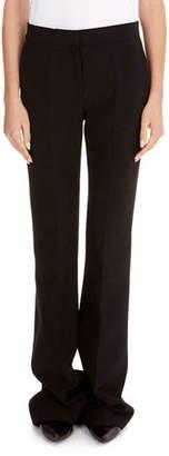 Victoria Beckham Victoria Flat-Front Straight-Leg Stretch-Wool Pants w/ Flared Hem
