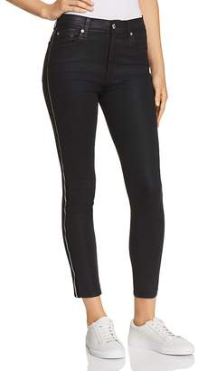7 For All Mankind Side Zip High Waist Skinny Jeans in B(air) Black with Velvet