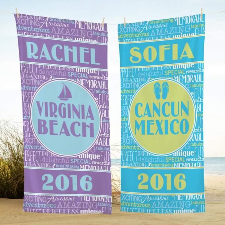 Personal Creations Personalized Splash of Memories Beach Towel - Purple