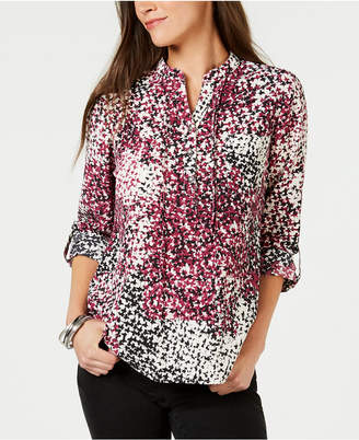 NY Collection Petite Printed Utility Top