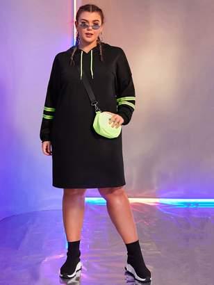 Shein Plus Neon Tape Drawstring Hooded Sweatshirt Dress Without Bag