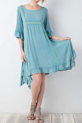 Easel Washed Ruffle Dress