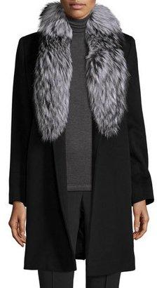 Fleurette Belted Fur-Trim Wrap Coat, Black $1,590 thestylecure.com