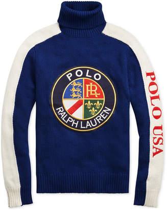Polo Ralph Lauren Men's Downhill Skier Wool Graphic Turtleneck Sweater