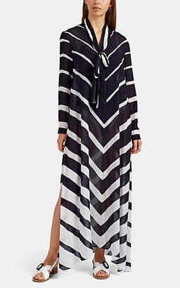 Odyssee Women's Vents Chevron Georgette Maxi Dress - Cream