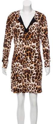 Diane von Furstenberg Leopard Print V-Neck Mini Dress w/ Tags