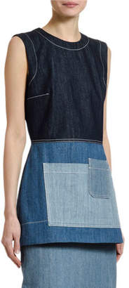 Marni Sleeveless Patchwork Denim Peplum Top