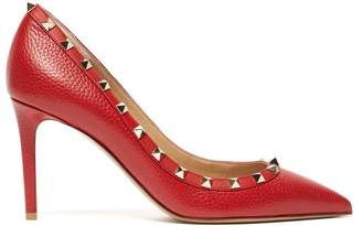 Valentino Rockstud Grained Leather Pumps - Womens - Red