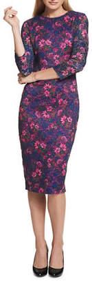 Kensie Floral Lace Midi Sheath Dress