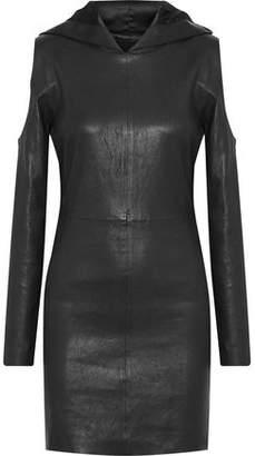 RtA Grace Cold-Shoulder Leather Hooded Mini Dress