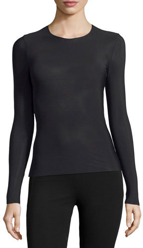 Commando Commando Whisper Long-Sleeve Crewneck Layering Top, Black