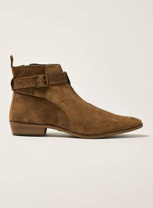 Topman Mens Brown Tan Suede Trail Buckle Boots