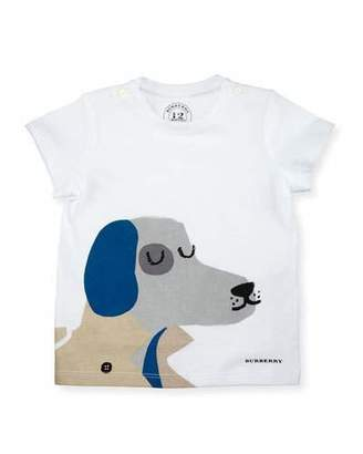 Burberry Short-Sleeve Dog Jersey Tee, White, Size 6M-3Y $60 thestylecure.com