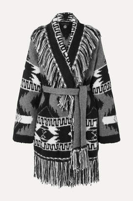 Alanui Fringed Cashmere And Silk-blend Jacquard Cardigan - Black
