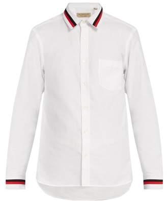 Burberry Knit Trim Cotton Shirt - Mens - White
