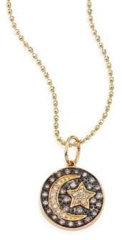 Sydney Evan Small Moon And Star Diamond& 14K Yellow Gold Medallion Necklace