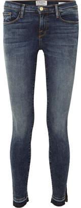 Frame Le Skinny De Jeanne Slit Mid-rise Jeans - Dark denim