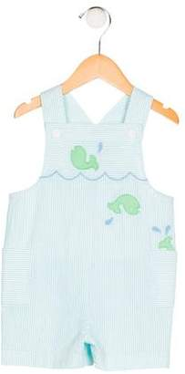 Florence Eiseman Boys' Embroidered Striped Overalls