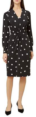 Hobbs London Farrah Twist-Front Polka Dot Dress