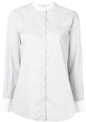 Closed Mandarin collar striped shirt
