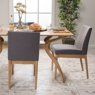Caruso Noble House Dark Grey Fabric Oak Dining Chair (Set of 2)