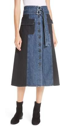 Sea Bleu Bicolor Denim Midi Skirt