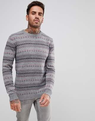 Pull&Bear Patterned Jumper In Grey