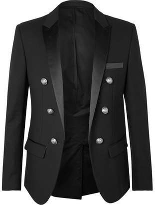 Balmain Black Slim-Fit Double-Breasted Satin-Trimmed Cotton Blazer