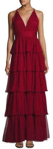 Alice + OliviaAlice + Olivia Sleeveless Tiered Silk Chiffon Gown, Bordeaux