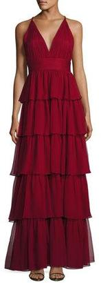Alice + Olivia Sleeveless Tiered Silk Chiffon Gown, Bordeaux $795 thestylecure.com