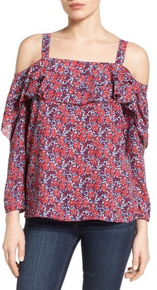 Petite Women's Nydj Ruffled Off The Shoulder Top $98 thestylecure.com