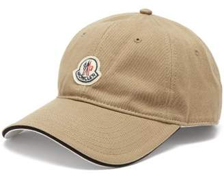 Moncler Logo Patch Cotton Baseball Cap - Mens - Beige