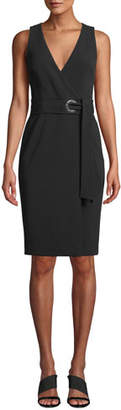 Badgley Mischka V-Neck Sleeveless Wrap Dress