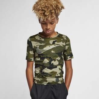 Nike Pro Boys' Short-Sleeve Camo Top