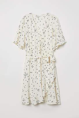 H&M Wrap Dress with Flounce - White