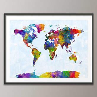 artPause World Map Painting Art Print Blue