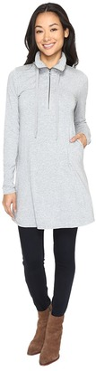 Mod-o-doc - Cotton Modal Spandex Jersey 1/4 Zip Tunic Women's Long Sleeve Pullover $115 thestylecure.com