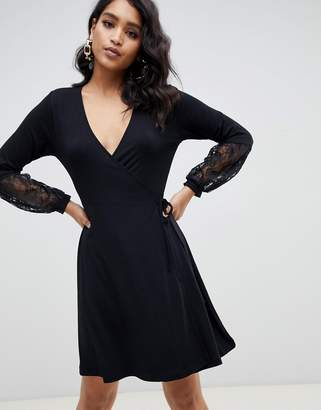 Asos Design DESIGN wrap dress with lace sleeves