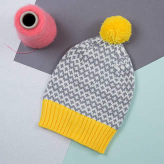 Lowie Yellow/Grey Graphic Beanie