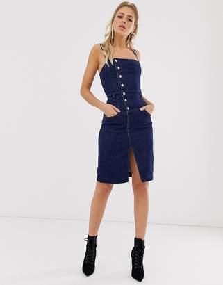 Miss Sixty logo strap detail denim button through dress