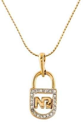 Nina Ricci Crystal Lock Pendant Necklace