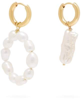 Timeless Pearly - Mismatched Hoop And Drop Pearl Earrings - Womens - Pearl