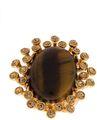 Oscar de la Renta tiger eye stone ring
