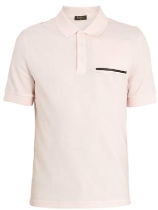 Berluti - Contrast Trim Cotton Blend Polo Shirt - Mens - Light Pink